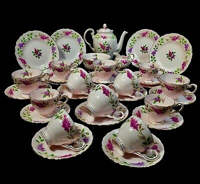 Vintage Afternoon Tuscan Tea & Coffee Set / Bone China / Lilac Time / Floral • 149£