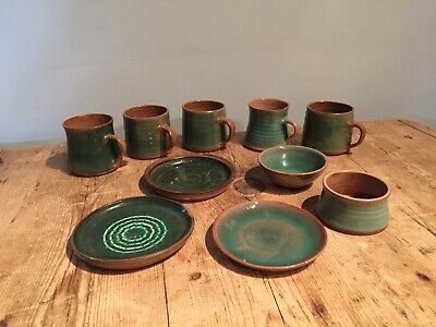 10 Pieces Of Mid 20th C Campden Pottery - All Small Espresso Cups Bowls Plates • 60£