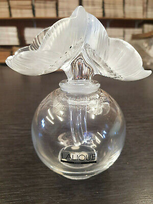 Signed LALIQUE Crystal Double Anemone Flower Perfume Bottle  • 350£