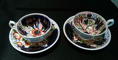 Two Gaudy Welsh Tea Cups And Saucers / Dishes, Sunflower Pattern • 35£