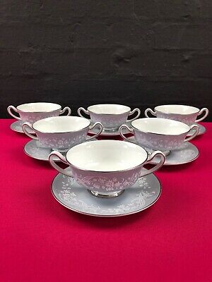 6 X Royal Doulton Valleyfield H4911 Soup Coupes Bowls And Saucer / Stands Set • 29.99£