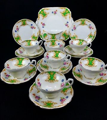 Vintage Foley Tea Set For 6 People / 21 Piece / Trio / Green And White China  • 79£