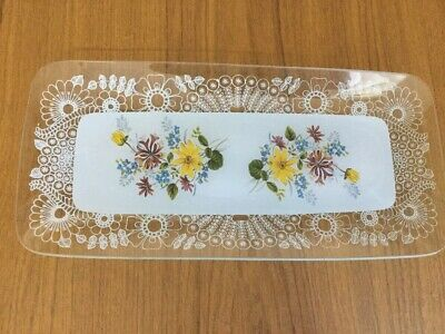 Vintage Glass Floral Sandwich Tray Plate  • 6.99£