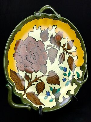 Gouda Pottery Tray / Charger Plate / Royal / 1950's Vintage / Yellow Brown Blue • 45£