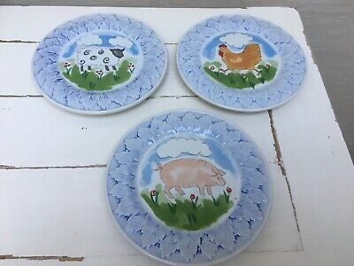 Three Ceramic Wall Hanging Decorative Plates - Farmyard Animals - St Michael • 12£