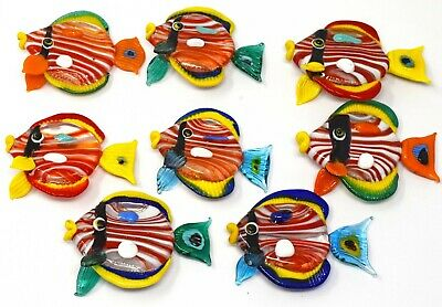 Set Of Eight Vintage Coloured Glass Ornate Angel Fish Ornaments • 18£