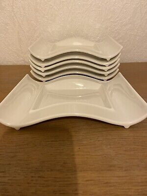 10 Strawberry Street Side Salad Desert Wave Plates White Contemporary Style X6 • 15£