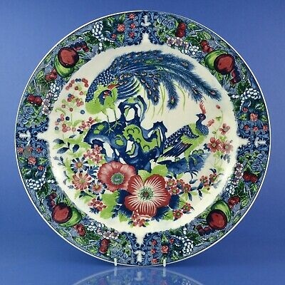 Very Large Transferware Blue & White Tricolour Platter / Charger With Peacocks • 29.99£