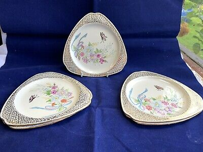 5 X Vintage Art Deco Lord Nelson Ware Triangular Plates Flowers/Butterflies • 10£