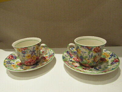 1930s Midwinter Brama Chintz Coffee Cup & Saucer, Set Of 2, VGC • 30£