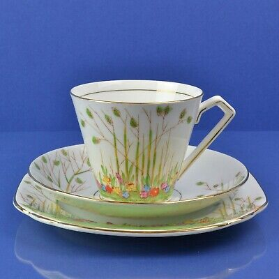 Beautiful Vintage Hand Painted Rosina 'Queens Pottery' 1940s Trio Deco Style • 12.99£