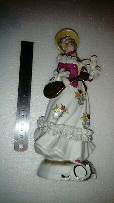 Vintage Porcelain Figurine Of Lady With Guitar • 15£