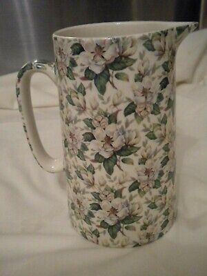 Tall Heron Cross Pottery  Magnolia  Milk Or Water Jug Floral Chintz 1.6 Pints • 10.95£