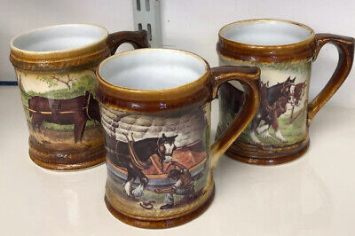Great Yarmouth Pottery , Set Of 3 Tankards, Working Heavy Horses • 20.99£