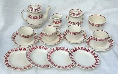 Antique Child Ironstone Set Spongeware Spatterware Tea Pot Waste Bowl Red Teapot • 92.08£