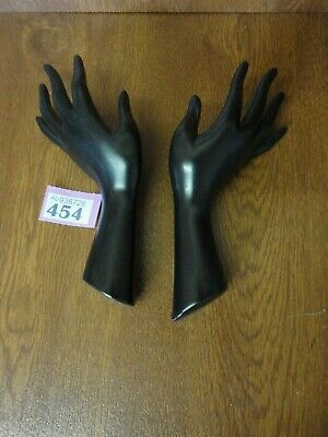 Pair Vintage European Art Pottery Black Hand Shaped Wall Pocket Vases • 39.95£