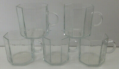 5 Piece France Octagon Clear Glass Mugs • 24.91£