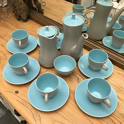 Poole Pottery Grey And Pale Blue Tea Set For Six • 39.99£