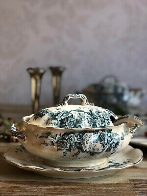 Hyde Park Tureen With Lid & Tray Transferware Sauce Gravy Boat Antique Burleigh • 18£