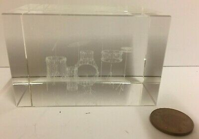 Laser 3D Etched Drum Kit Block Glass Ornament / Gift / Paperweight GC • 3.99£