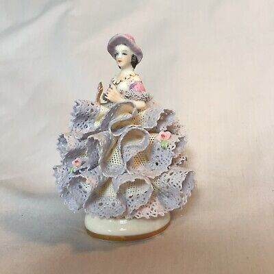 """Vintage MZ Irish Dresden Porcelain Lace Figurine """"Lydia"""" Lilac Time Collection • 38£"""
