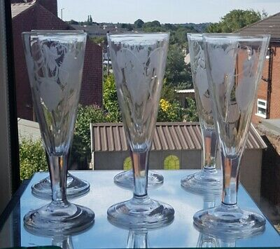Set Of 6 Early Victorian, Hop And Barley Engraved Ale Glasses Fluted Leg. C1840 • 125£