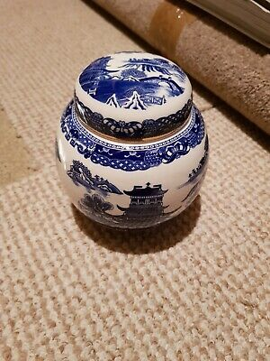 Ringtons Blue Round Pottery Storage Jar With Lid. • 10£