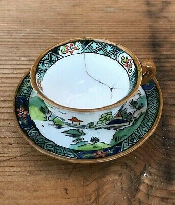 Crown Staffordshire Miniature Green Willow Porcelain Cup And Saucer • 8£