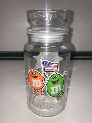 M&M's Vintage Glass Chocolate Candy Jar 1984 LA Los Angeles Olympic Games • 16.99£