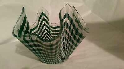 Chance Handkerchief Glass Bowl C 1978  Green And White Gingham  Pattern  • 7£