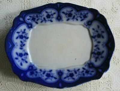 Antique Victorian Flow Blue & White Dish Tray Plate • 8.50£