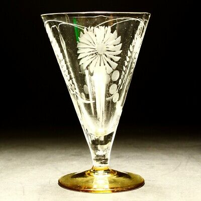 20th Century Art Deco Flower Engraved Wine / Water Glass Amber Foot C1930s Rare • 30£