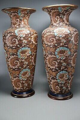 Rare  -  Pair  Large Antique ' Doulton Slaters Patent '  Vases  '2987' • 387£