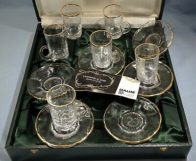 French Daum Crystal Glass Boxed Tea Set Gilt Décor Mid-Century Modern • 713.35£