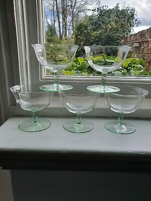 1930's Depression Green Champagne Cocktail Martini Coupes X 5 Short Stems  • 20£