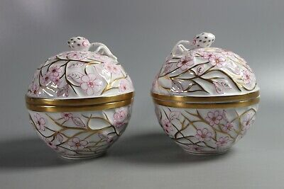 Pair Of Large HEREND HUNGARY PORCELAIN FLORAL TRINKET BOXES • 209.63£