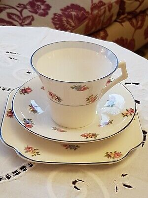 Vintage Colclough Ditsy Rose Art Deco Trio - Cup, Saucer & Sideplate • 16.99£