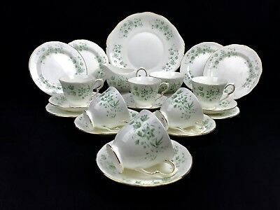 Queen Anne China Tea Set For 6 / 21 Piece / Pattern 8669 Green Floral / Trio  • 79£