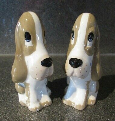 Two Vintage Studio Szeiler  Bassett Hound Dog Ornaments Hand Painted England • 10£