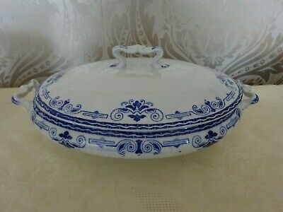 Vintage Leighton Pottery Regal Blue & White Oval Serving Tureen Dish & Lid • 14.99£