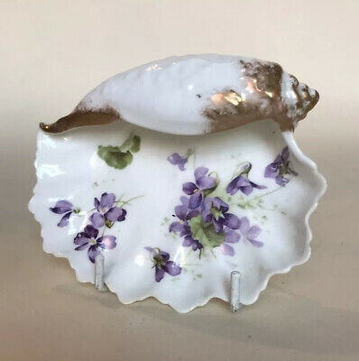 Antique Hammersley 'Victorian Violets' Shell Shape Butter Dish • 24.99£