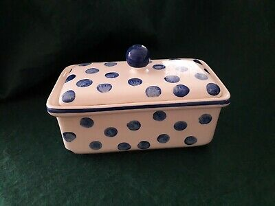 Creme & Blue Polka Dot Spotted Lidded Butter Dish - Normandy Arther Wood • 15£