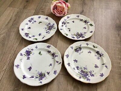"""4 X Hammersley Victorian Violets Side Plates 7"""" A/F • 12£"""