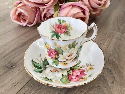 HAMMERSLEY HOWARD SPRAYS CUP & SAUCER Antique Vintage Floral Peony Lily Rose • 25£