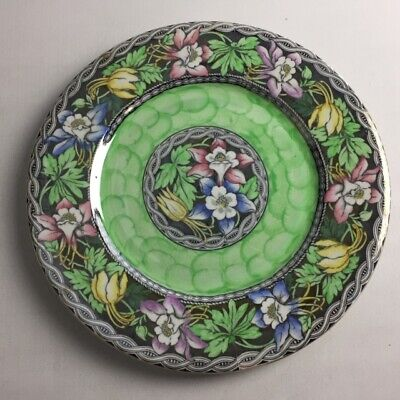 Maling Lustre Plate Floral Pattern With Green Trim, Tyneside Pottery • 34.95£