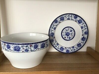 Decorative Bowl And Plate, Blue/white/flowers • 21.50£