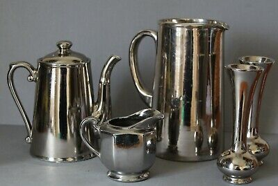 Vintage Silver Lustre Coffee Pot, 2 Jugs And 2 Vases • 12.99£