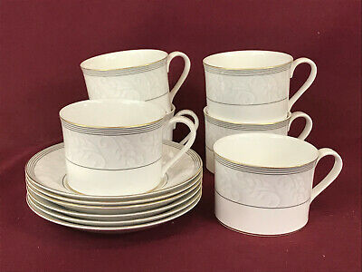 SPODE OPERA GOLD 6 X LOW ACCENT TEACUPS & SAUCERS - BRAND NEW/UNUSED Made In Eng • 9.99£