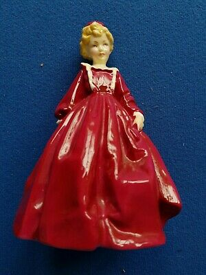Porcelain Figurine, Girl In Red Dress • 19£