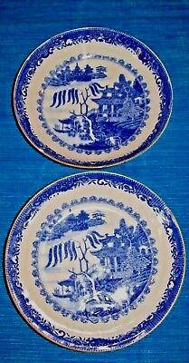 Rare= 2 X Antique,Hard Paste Porcelain,Blue & White Willow Pattern Bowls • 7.50£